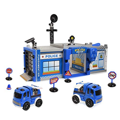 WolVol Do-It-Yourself Police Station Garage - Build & Construct Your Own Playset - Fun Toy for Kids & Children (Best Childrens Toy Garage)