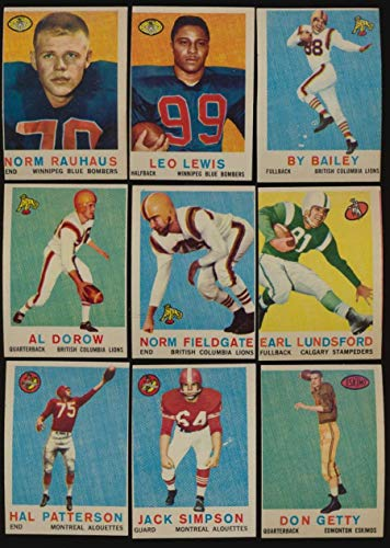 1959 Topps CFL Football EX avg complete 88 card set centering 52167