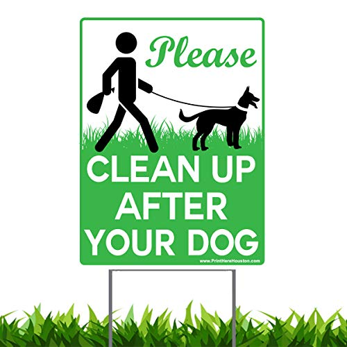 Vibe Ink 9 x 12 Please Clean Up After Your Dog - No Pooping Dog Lawn Signs with Metal Wire H-Stakes Stands Included by Vibe Ink