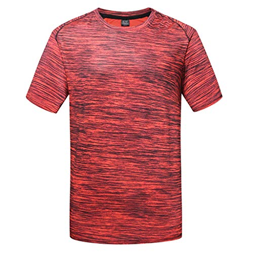 Willow S ❤ Men's Summer Casual O-Neck Solid Color Quick-Drying ClothesT-Shirt Fitness Sport Fast-Dry Breathable Top Blouse Red ()
