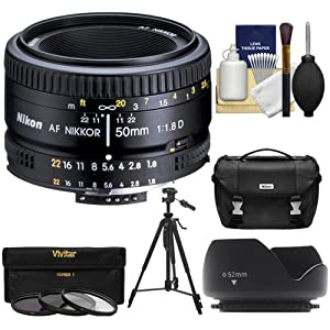 Nikon 50mm f/1.8D AF Nikkor Lens + Nikon Case + 3 UV/CPL/ND8 Filters + Hood + Tripod Kit for D7100, D7200, D610, D750, D810 Cameras