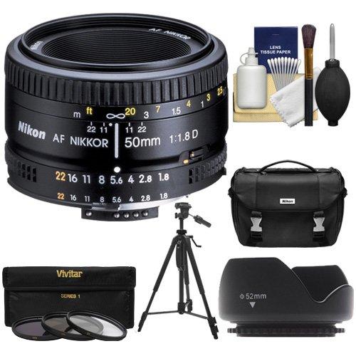 Nikon 50mm f/1.8D AF Nikkor Lens + Nikon Case + 3 UV/CPL/ND8 Filters + Hood + Tripod Kit for D7100, D7200, D610, D750, D810 Cameras by Nikon