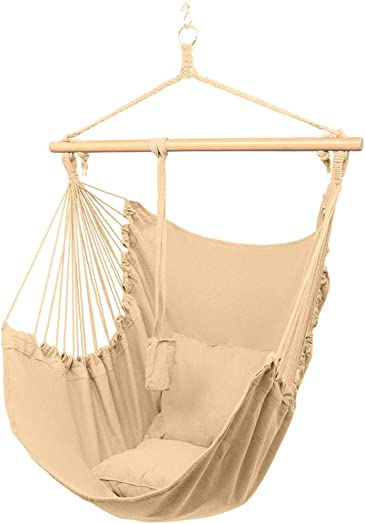 Auwish Hanging Bedroom Hammock Chair Handmade Macrame Rope Swing Patio Chairs for Indoor, Outdoor Home, Deck, Yard, Garden Wide Seat Yellow