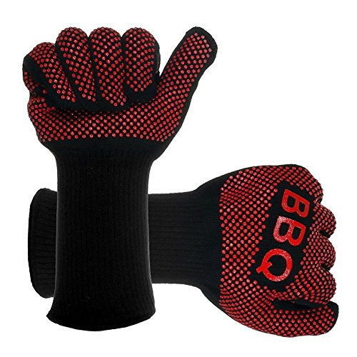 Aoxsen Grill Extreme Heat Resistant Oven Mitts Cotton BBQ Gloves Pot Holders Cooking Glove, Oven Mitts, Kitchen Mitts Protective Gloves for Oven, Baking, Cooking, Grilling, Barbecue (Black 2)