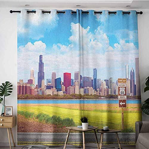 AGONIU Grommet Window Curtains,Chicago Skyline Historical Route 66 Highway Background with Skyscrapers Freedom Picture,Grommet Curtains for Bedroom,W96x72L Multicolor -