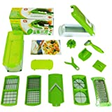 DOODEEN Vegetable and Fruit Salad Nicer Dicer Plus Multi Chopper 12 Pieces,Green