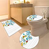 3 Piece Toilet Cover set s and Ova Dome Shaped Illustration Never Ending Story Luck Symbo Extralong Multi Extra Soft Memory Foam Combo - Rug, Contour Mat and Lid Cover
