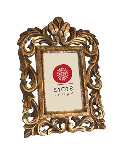 storeindya Vintage Wooden Single Picture Photo Frame Stand French Style Heart Design Home Living Room Decor (Design 4)