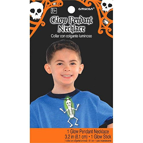 Skeleton Glow Stick Costume (Family Friendly Halloween Trick or Treat Glow Necklace With Skeleton Pendant Party Favour, Fabric, 36