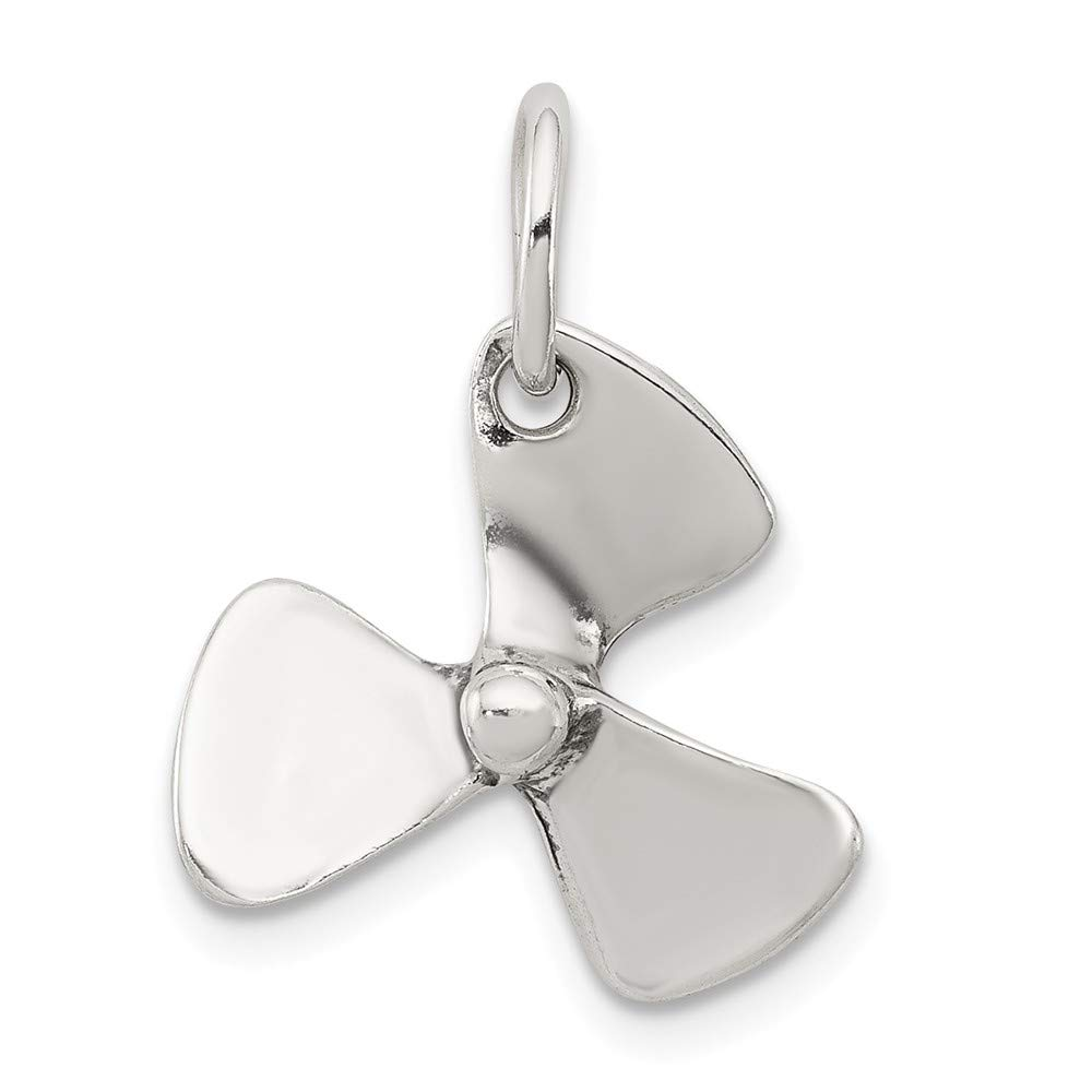 Solid 925 Sterling Silver 3D Antiqued-Style Boat Propeller Pendant Charm 16mm x 16mm
