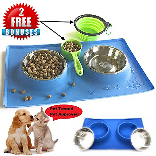 - MCBInfinity Small Dog Bowls Set Newly Redesigned RECTANGLE Catch-All NonSkid No Spill Silicone Mat, 2x12oz Stainless Steel Bowl+ BONUS Pet Food Scoop + Collapsible Bowl Best For Puppy,Small Dogs, Cats