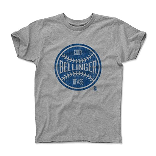 500 LEVEL's Cody Bellinger Youth & Kids T-Shirt 10-12Y Heather Gray - Cody Bellinger Ball B - Los Angeles Baseball Fan Gear Officially Licensed by the MLB Players Association