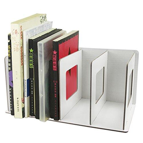 Clobeau DIY Wooden 4 Sections Creative Desktop File Rack Books Magazine Holder Sorter Office Home Desk Tidy Storage Hanger Dispay Bin File Folder Dividers Cabinet File Basket Shelf Organizer, Beige (Dividers File Shelf)