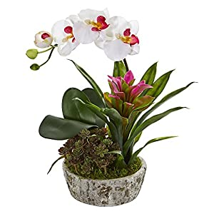 Nearly Natural 1606-WP Orchid, Bromeliad and Succulent Artificial Planter Silk Arrangements, White/Purple 28