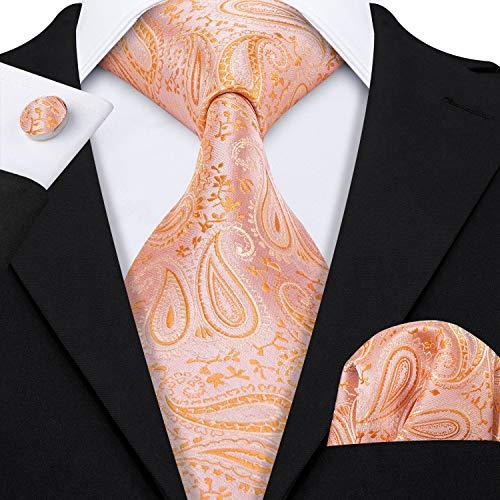 - Barry.Wang Light Orange Silk Necktie Set for Men Wedding,Orange,One Size