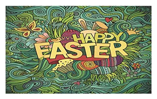(Lunarable Easter Doormat, Pop Funk Art Retro Festive Phrase with Butterfly and Forest Leaf Graphic, Decorative Polyester Floor Mat with Non-Skid Backing, 30 W X 18 L Inches, Green Earth)