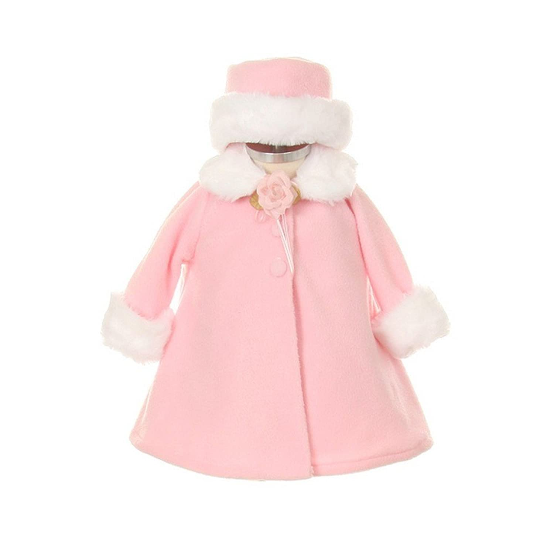 Kids Dream Pink Fleece Faux Fur Collar Stylish Coat Baby Girl 6 24M