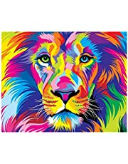 S-TROUBLE Mighty Lion DIY Paint by Numbers Modern Wall Art Picture para niños y Adultos