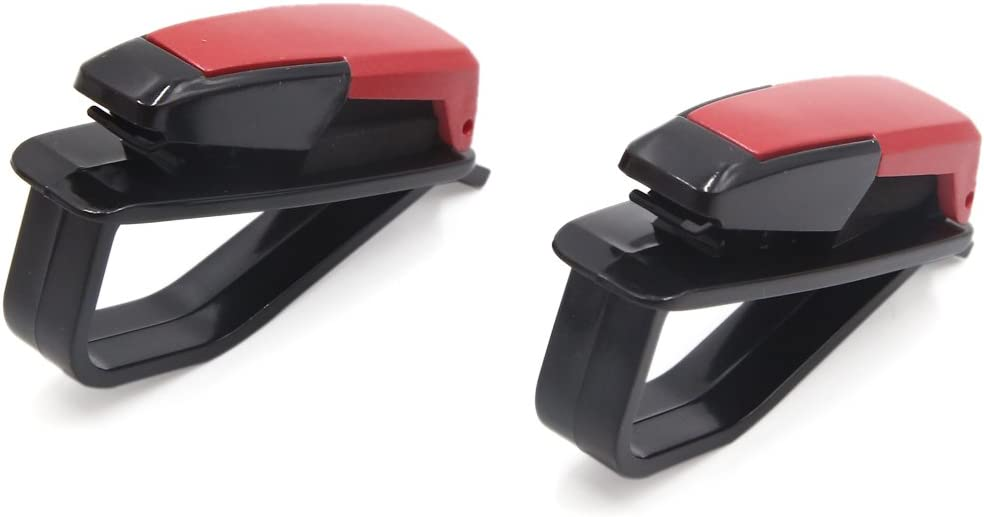 sourcing map 2Pcs Rot Plastik Auto Sonnenblende Brille Sonnenbrille Kartenhalter Halter Clip