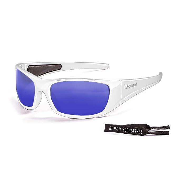 Ocean Sunglasses Bermuda - lunettes de soleil polarisées - Monture : Blanc Laqué - Verres : Revo Bleu (3401.2) UFfWh