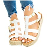 Thick Bottom Platform Sandals Shoes Women Summer Casual Strappy Wedge Sandals Closed Toe Shoes by Gyouanime