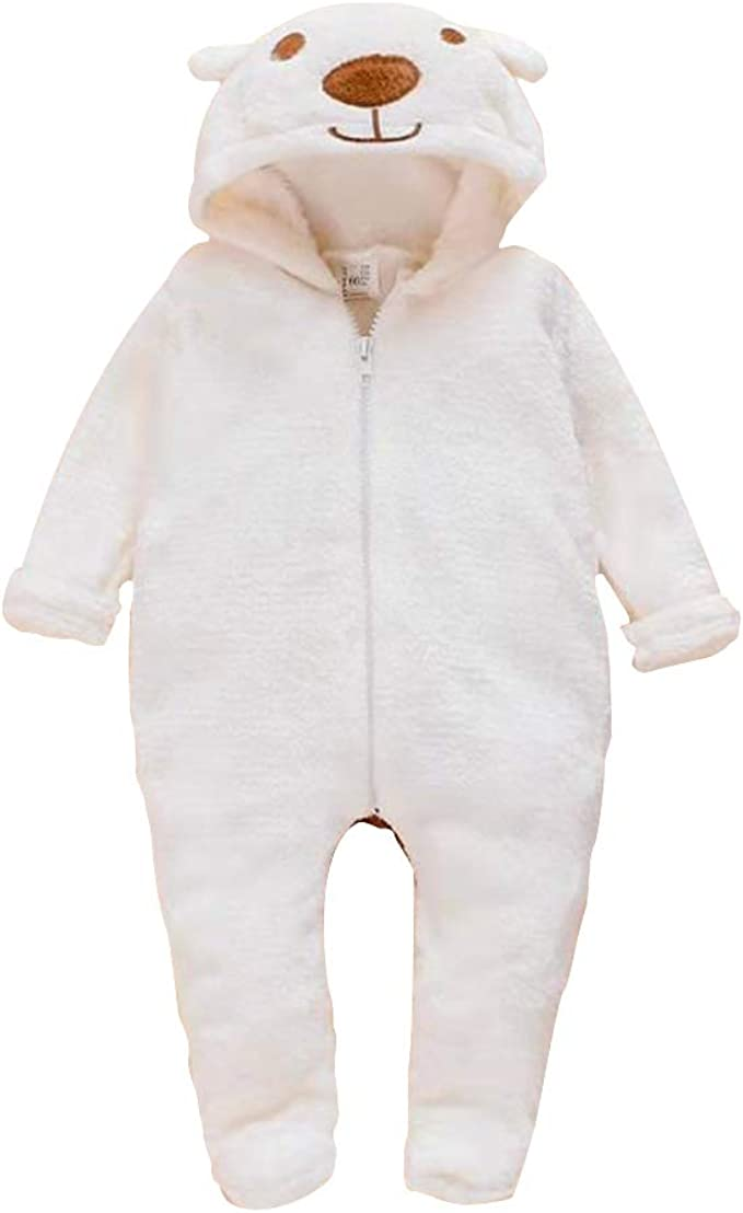 LXXIASHI Newborn Infant Unisex Baby Thicken Fleece Coveralls Romper Hooded Footies Bunting Onesie Snowsuit Outfit