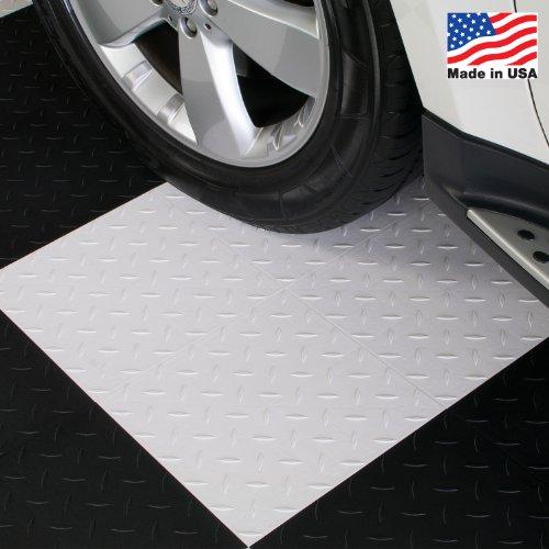ModuTile Garage Flooring Interlocking Tiles, Diamond Top, White, 27 pack (Plastic Garage Floor Tiles)