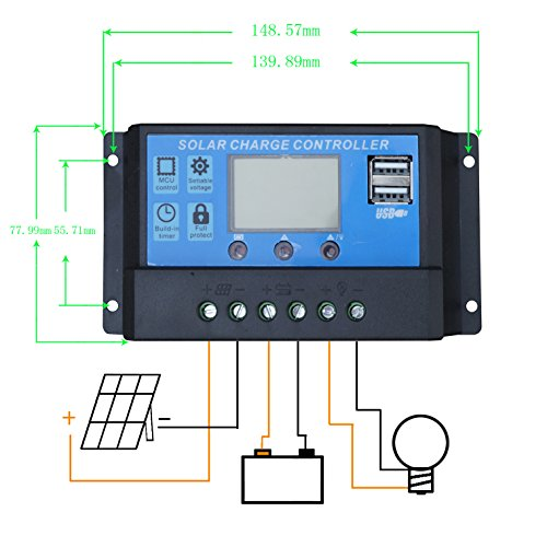 100 Watts Solar Panel 20a Lcd Display Pwm Charge