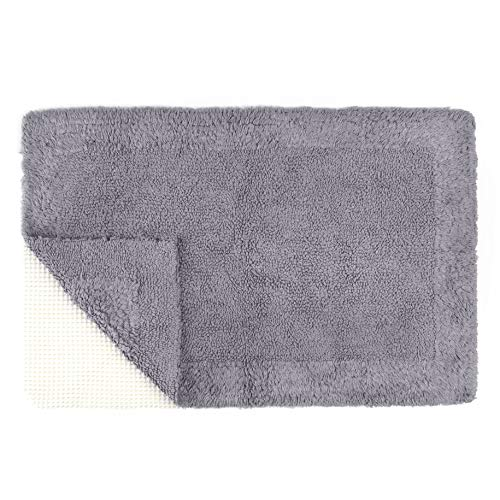 - Tomoro Non-Slip Bathroom Rug Super Absorbent Soft Cotton - Luxury Hotel Linens Reversible Non-Skid Door and Bath Mat with Non-Slip Rug Pad (24 x 39 Inches, Grey)