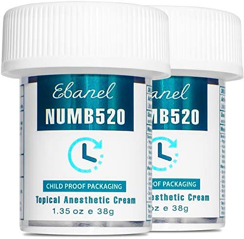 Ebanel 5% Lidocaine Topical Numbing Cream Maximum Strength, 2-Pack of one.35 Oz, N520 Pain Relief Cream Anesthetic Cream Infused with Aloe Vera, Vitamin E, Lecithin, Allantoin, with Child Resistant Cap