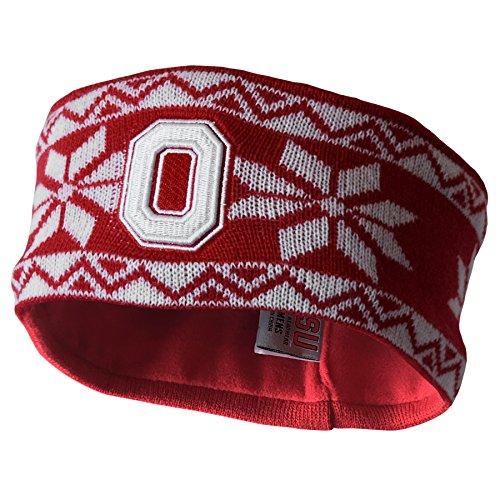 Adult Knit Headband - NCAA Ohio State Buckeyes Adult Women Cheer Women's Knit Headband, One Size, Red/White