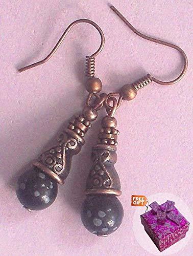 Handcrafted Snowflake Obsidian - Snowflake Obsidian Copper Hemetite Earring Bali Cone Handcrafted Rhinestone Earrings For Women Set + Gift Box For Free