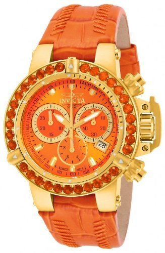 Invicta Womens Subaqua NOMA III Swiss Chronograph Orange Fire Opel Bezel 18k Gold Watch 14765