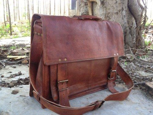 True Grit Leather- New 18 Inch Michigan Mens Leather Briefcase Messenger Shoulder School Laptop Satchel Handbag Business Crossbody Bag, Bags Central