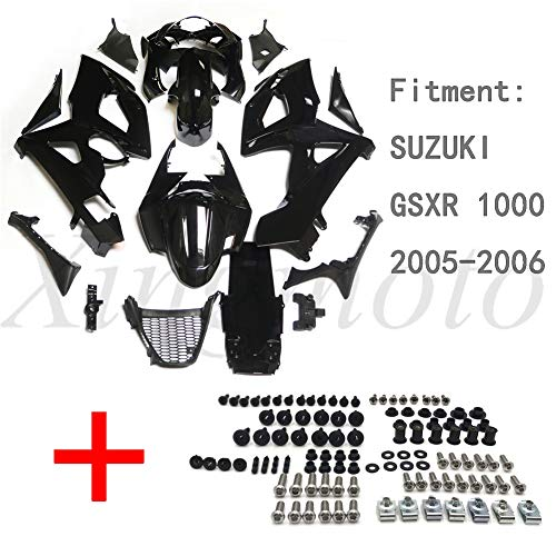 NBX- Replacement of Gloss Black ABS Body work Fairing Kit Whith screw For Compatible with SUZUKI GSXR 1000 2005-2006