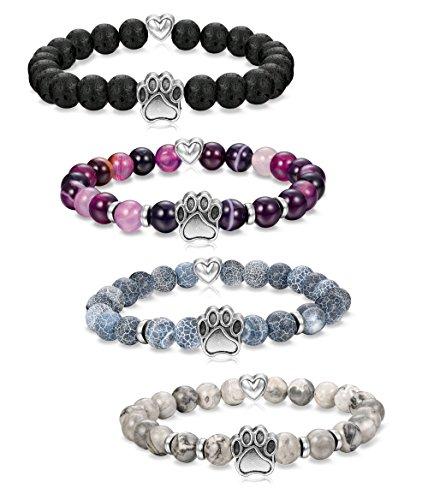 Milacolato 4Pcs Natural Stone Bead Bracelet for Girls Women Lucky Healing Bracelet (paw+heart)