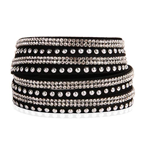 - RIAH FASHION Bohemian Faux Suede Leather Wrap Multi Layer Bracelet - Boho Wrist Adjustable Cuff Bangle Crystal Rhinestone/Metallic Bead/Natural Stone Embellishment (Stud Mix - Black/Rhodium)