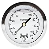 """Winters PFQ Series Stainless Steel 304 Single Scale Liquid Filled Pressure Gauge with Brass Internals, 0-160 psi, 2-1/2"""" Dial Display, -1.5% Accuracy, 1/4"""" NPT Center Back Mount"""