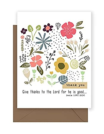 flowers dots thank you note cards with scripture