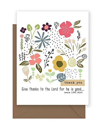 Flowers & Dots Thank you Note Cards - with scripture