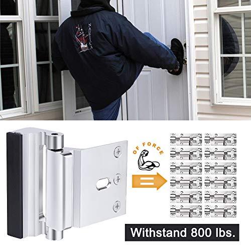 Home Security Door Lock, Childproof Door Reinforcement Lock with 3'' Stop Withstand 800 lbs for Inward Swinging Door, Upgrade Night Lock Double Protection Your Home (Silver-2 Pack) by Senignol (Image #1)