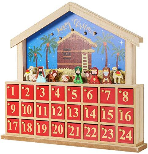 [해외]BRUBAKER Advent 캘린더 - 나무 하우스 - 블루레드 - 13.5 x 32.6 x 2.4 인치 / BRUBAKER Advent Calendar - Wooden House - BlueRed - 13.5 x 12.6 x 2.4 inches