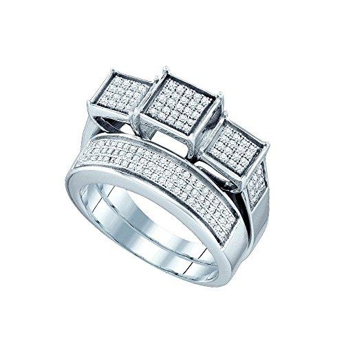 Sterling Silver Womens Round Diamond Triple Cluster Bridal Wedding Ring Band Set 1/2 Cttw by JAWAFASHION