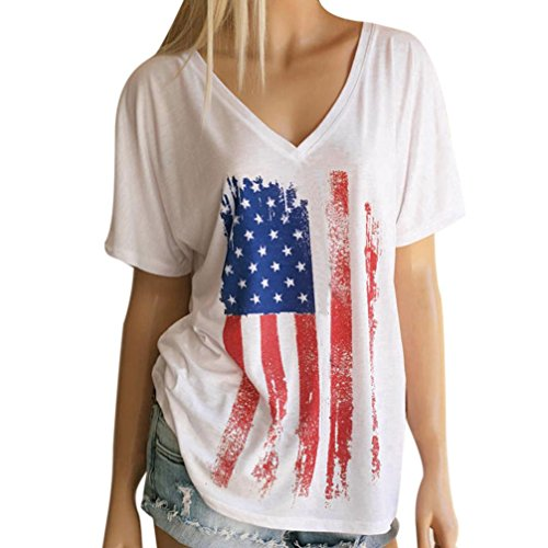 Tenworld Womens American Flag Print Sleeveless Tank Tops Vest Blouse T-Shirt (US 10, E)