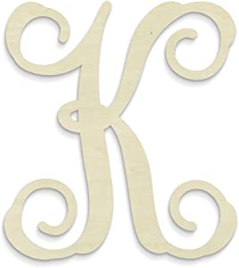 UNFINISHEDWOODCO Single Vine Unfinished Monogram K Decorative Letter, 13-Inch