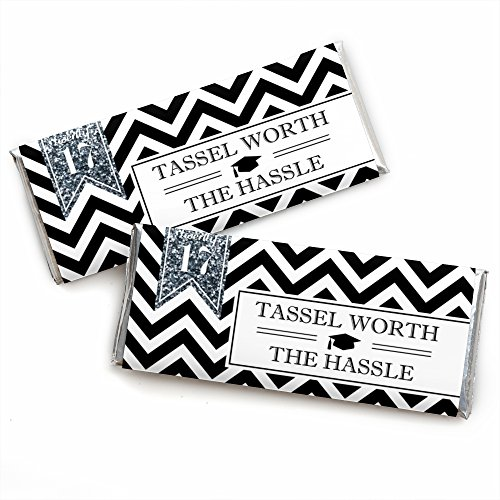 Silver Tassel Worth The Hassle - Graduation Candy Bar Wrappers Party Favors - Set of 24 - Graduation Candy Bar