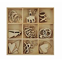 Kaisercraft 302162 Themed Mini Wooden Flourishes 45/ Package, Always & Forever Wedding