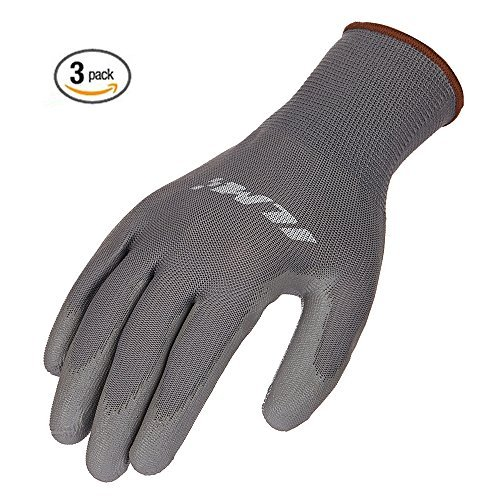 ILM Safety Work Gloves Utility Ultimate Nitrile Grip For Garden Electrician Automotive Kids Women Men (L, GRAY) by ILM