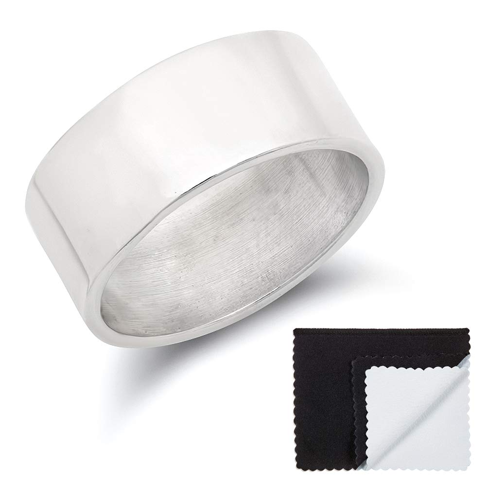 925 Sterling Silver Italian Crafted 9mm Wide Smooth Flat Edged Wedding Band, Size 6 + Cleaning Cloth