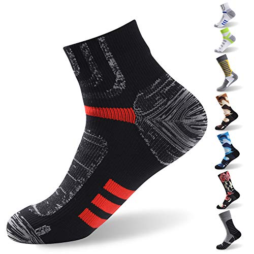 Camping Waterproof Socks, RANDY SUN Ultralight Ankle Athletic Socks for Men and Women, Moisture Wicking Athletic Cushion Hiking Running Walking Socks, 1 Pair-Black&Red Small ()